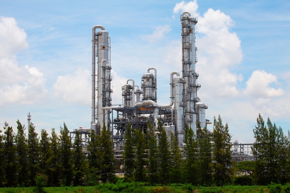 Picture of distillation columns of a refinery