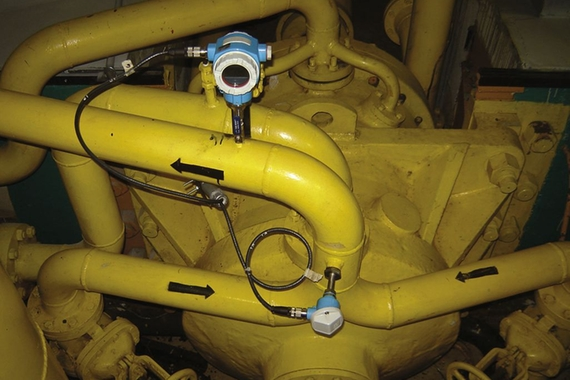 Level measurement in the pressurized air-oil tank