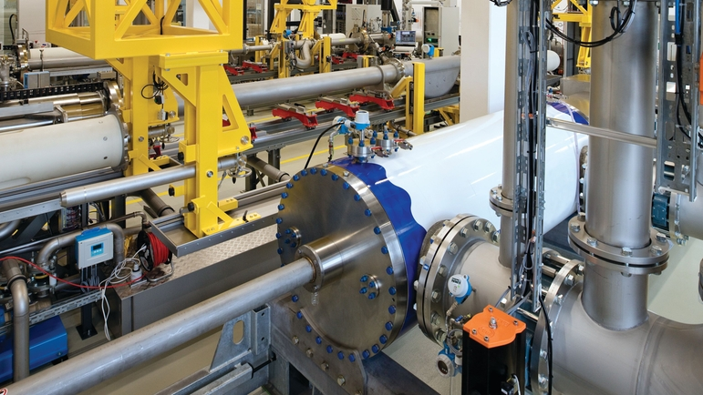 Picture of Endress+Hauser flow calibration rig for viscous hydrocarbons in Reinach Switzerland